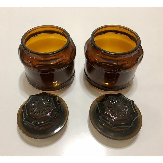 Round Dark Amber Glass Lidded Vanity Jars - A Pair - Image 4 of 6