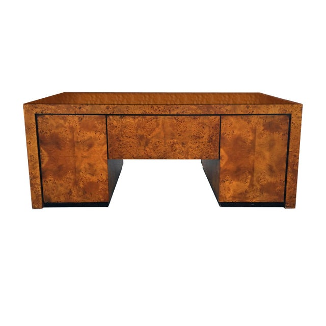 Circa 1960s 70s Mid Century Modern Burl Wood Executive Desk Beautifully Rich In