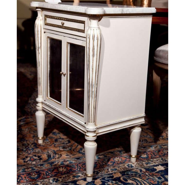White Painted Marble-Top Cabinets by Jansen - Pair For Sale - Image 7 of 9
