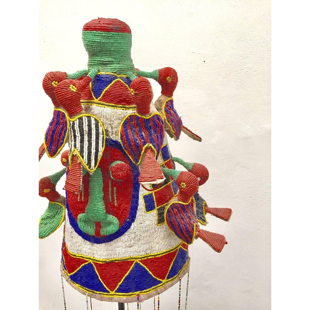Fabric Yoruba Nigeria African Royal Beaded Headdress Crown on Stand For Sale - Image 7 of 13