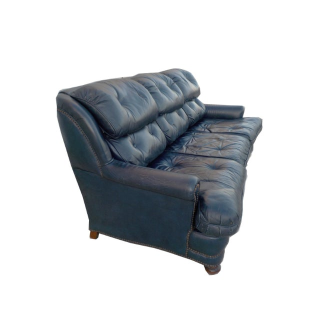 Vintage Tufted Blue Leather Chesterfield Sofa - Image 4 of 7