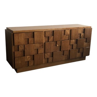 Lane Mid Century Modern Brutalist Oak 9 Drawer Dresser For Sale