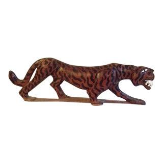 Vintage Sleek Modern Cat Carved Mahogany For Sale
