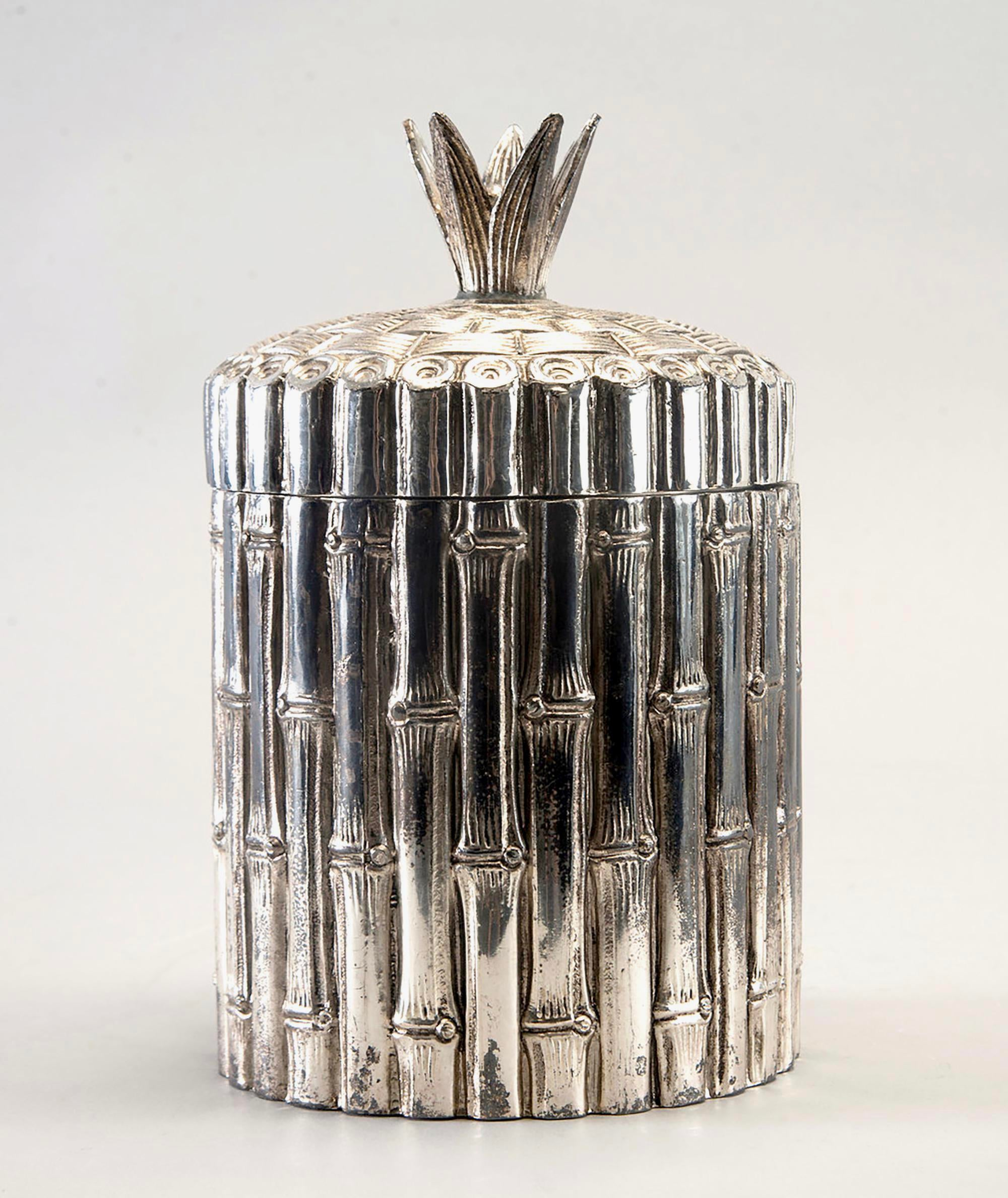 Mid Century Italian Silver Plate Faux Bamboo Ice Bucket   Image 2 Of 8