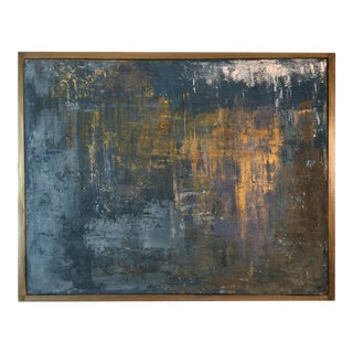 """Contemporary Abstract Titled """"Golden Temple"""" Artist Robin Phillips, Framed For Sale"""
