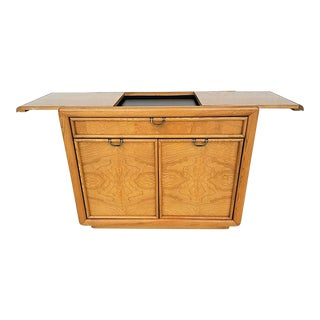 Vintage Broyhill Premier Mid-Century Modern Campaign Style Slide Top Rolling Bar Cart For Sale