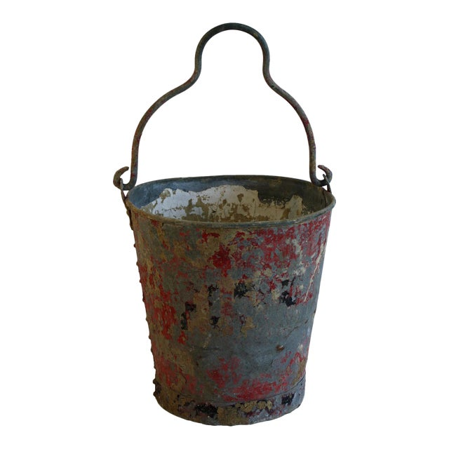 Vintage Red Fire Brigade Bucket For Sale