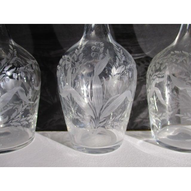 1910s Antique Cut Glass Liqueur Decanters - Set of 3 For Sale - Image 5 of 8