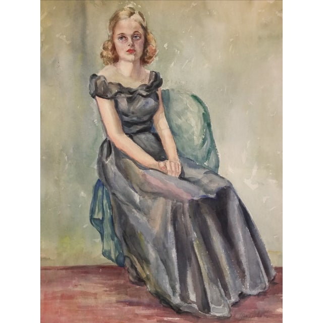 1930s Watercolor Portrait of a Young Girl - Image 1 of 6