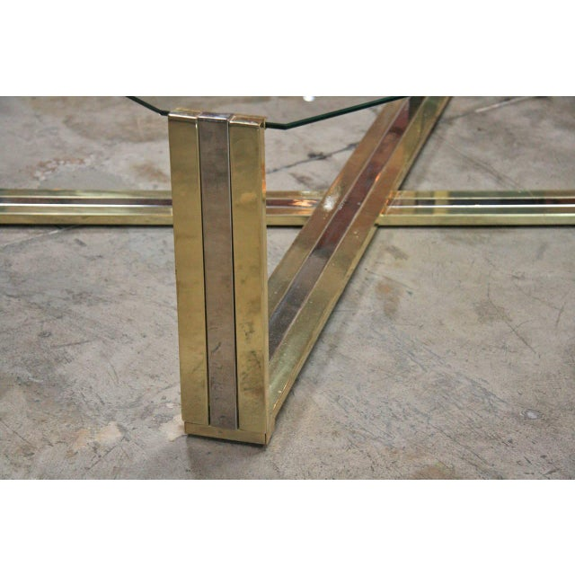 Italian Coffee Table Brass and Steel, 1960s For Sale - Image 5 of 9