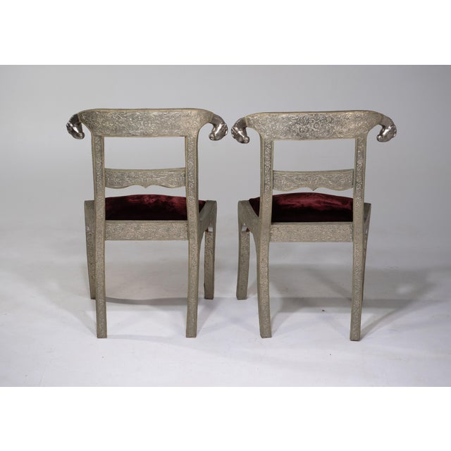 Glam Pair of Anglo Indian Regency Style Rams Head Side Chairs For Sale - Image 10 of 13