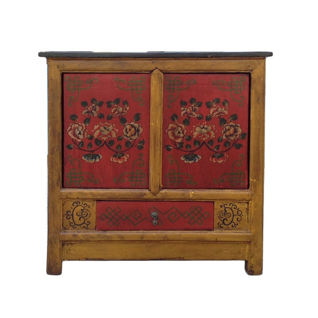 Chinese Yellow Red Floral Graphic Table Cabinet - Image 1 of 5