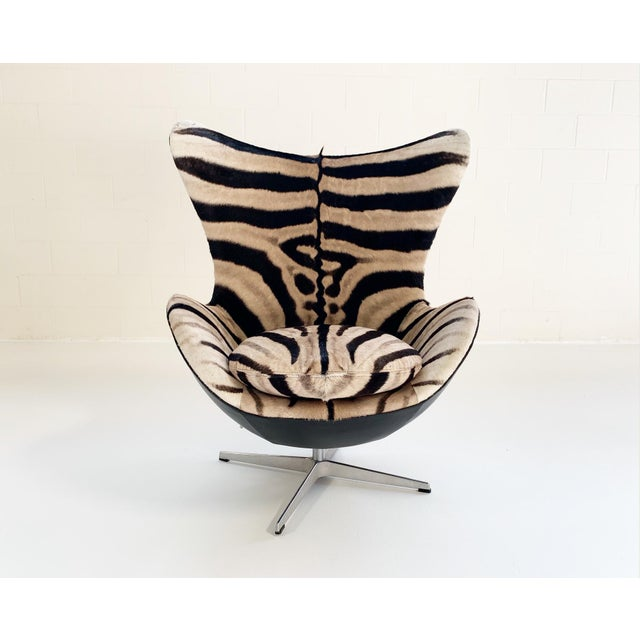 Arne Jacobsen for Fritz Hansen Egg Chair in Zebra Hide and Loro Piana Leather For Sale - Image 13 of 13