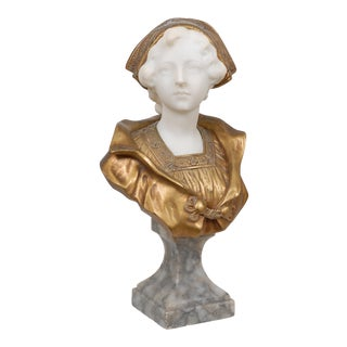 Early 20th Century French Art Nouveau Style Marble and Bronze Bust of a Young Woman For Sale