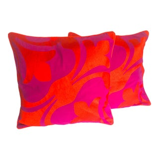 C. Wonder Bright Raspberry & Tangerine Pillows - a Pair For Sale