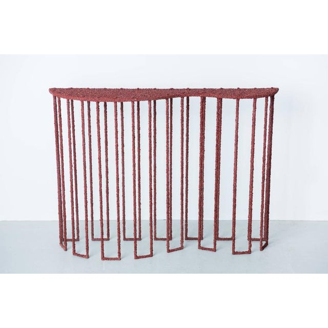Hand Made Console of Crushed Red Jasper From India, by Samuel Amoia For Sale - Image 10 of 10