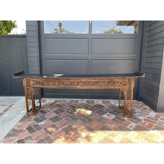 Wood Antique Bamboo Chinoiserie Console For Sale - Image 7 of 7