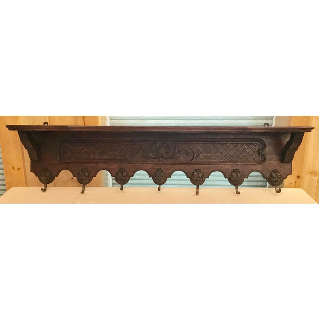 Antique French Carved Tiger Oak Wall Shelf Coat Hat Rack Farmhouse ~Direct from France~ A lovely antique wall shelf,...