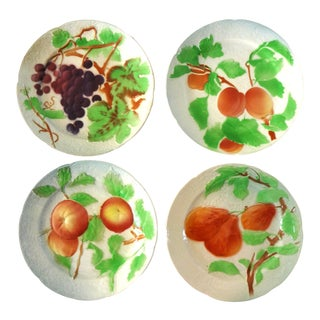 19th Century Antique St Clement French Majolica Fruit Plates - Set of 4 For Sale
