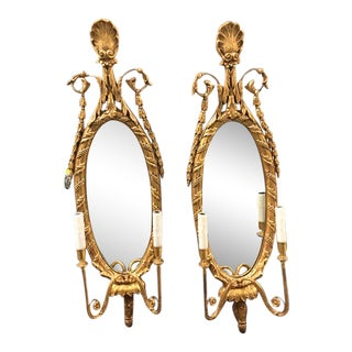 Empire Style Gold Mirrored Wall Sconces - A Pair For Sale