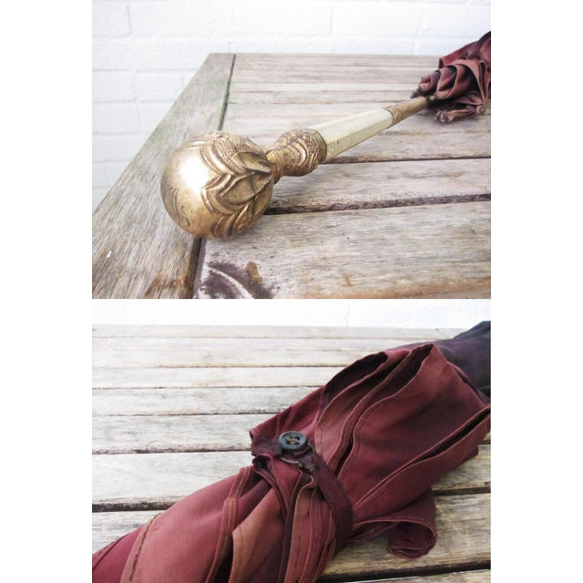 Red Antique Edwardian Gold and Mother of Pearl Handle Umbrella For Sale - Image 8 of 11