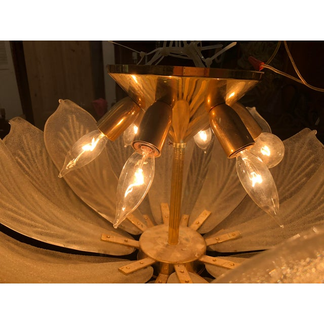 Mid-Century Murano Glass Flower Petal Chandelier For Sale - Image 5 of 11