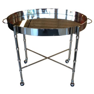 1970s Hollywood Regency Chrome Bar Cart/ Tray-On-Stand