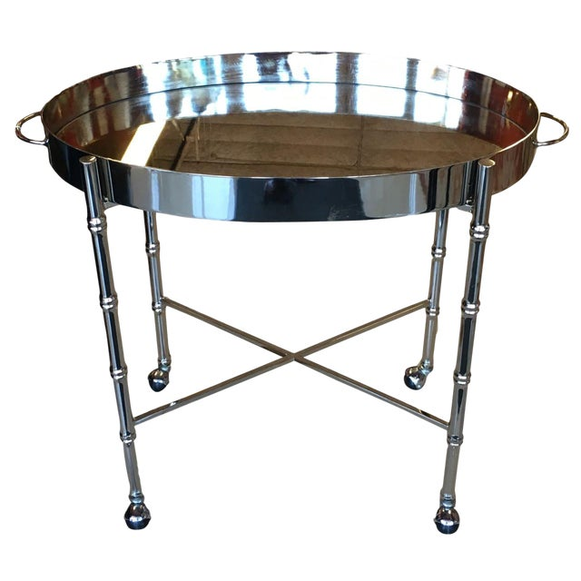 1970s Hollywood Regency Chrome Bar Cart/ Tray-On-Stand For Sale