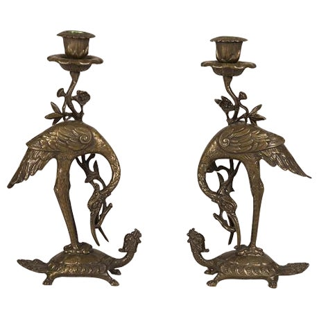 Bronze Crane on Turtle Pair Candlesticks, France c.1840 For Sale