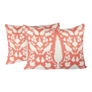 """ Cenenceau"" by Schumacher Linen Lumbar Pillow With Feather Inserts - A Pair For Sale"