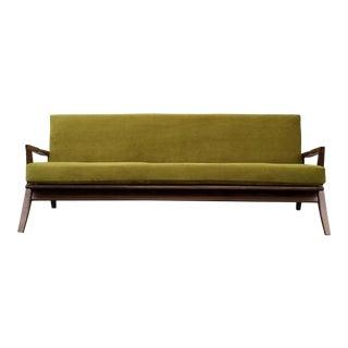 Chartreuse Vintage Green Velvet Sofa