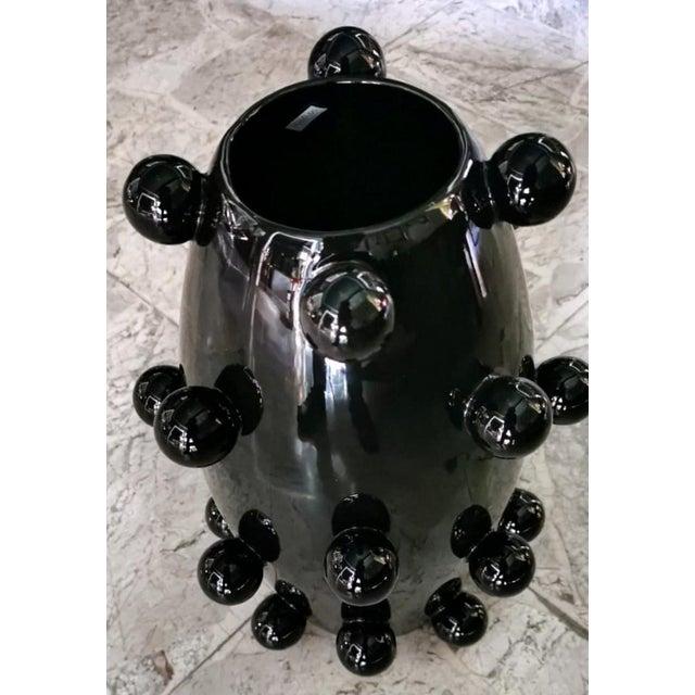 Modern Black Polished Handmade Ceramic Sculpture Vase For Sale - Image 3 of 13