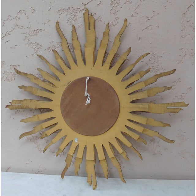 French Convex Sunburst Gilded Wood Mirror For Sale - Image 4 of 5