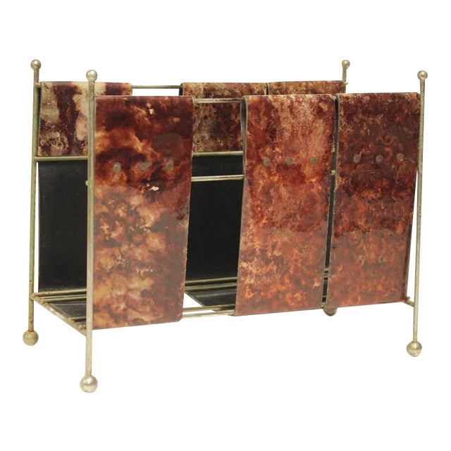 1960's Vintage Italian Aldo Tura Style Lacquered Leather Magazine Rack For Sale