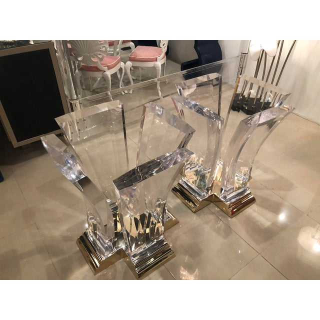 Vintage Jeffrey Bigelow Hollywood Regency Lucite and Brass Dining Table Bases - A Pair For Sale - Image 11 of 13