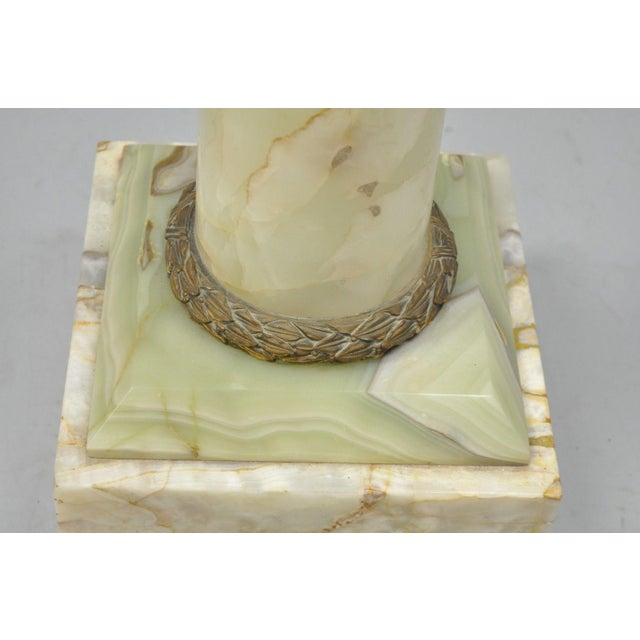 Gold 19th Century Onyx & Bronze Column Revolving Statue Pedestal French Empire Style For Sale - Image 8 of 12