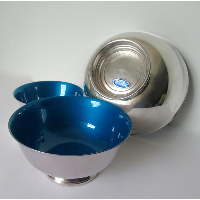 Reed & Barton Silver Plate Bowls With Peacock Blue Enameled Interiors -Set of 3 For Sale - Image 10 of 13