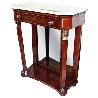 Vintage 1940s Mahogany Empire Console For Sale