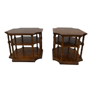 Vintage Weiman Faux Bamboo Three Tiered Side Tables -A Pair For Sale