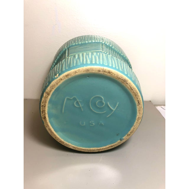 """McCoy Pottery 1940s - 1960s Large """"Teal Blue"""" Mid-Century Flowerpot and Saucer For Sale - Image 4 of 6"""