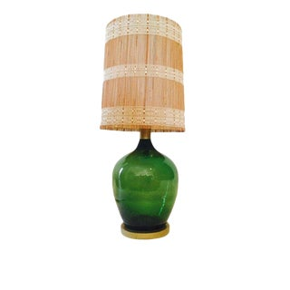 """Mid Century Modern Oversized Demijohn Lamp Emerald Green 40"""" Statement Lamp With Shade For Sale"""