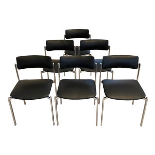 "Mid-Century Bauhaus ""Kiki"" Stacking Chrome Chairs by Ilmari Tapiovaara- Set of 6 For Sale"