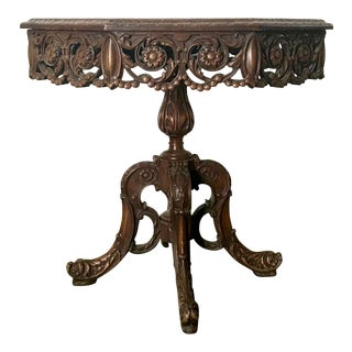 1940s Art Nouveau Old World Carved Wood Table For Sale