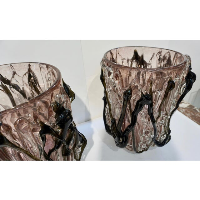 Costantini Italian Black Amethyst Clear Murano Glass Vases - a Pair For Sale - Image 12 of 13