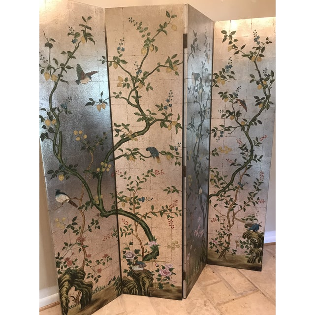 Chinoiserie Decorative Crafts Hand Painted Silver Screen For Sale - Image 9 of 10