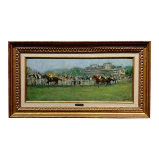 Gabriel Spat 1920s Horse Racing at the Track Oil Painting For Sale