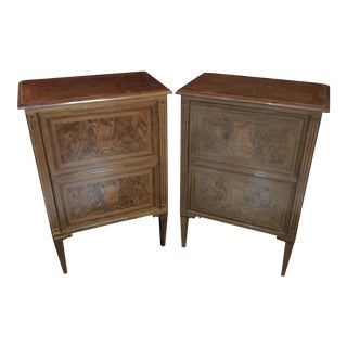 Antique Italian Inlaid Side Cabinets - A Pair