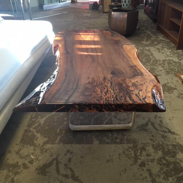 English Walnut And Industrial Base Coffee Table For Sale In Philadelphia    Image 6 Of 7