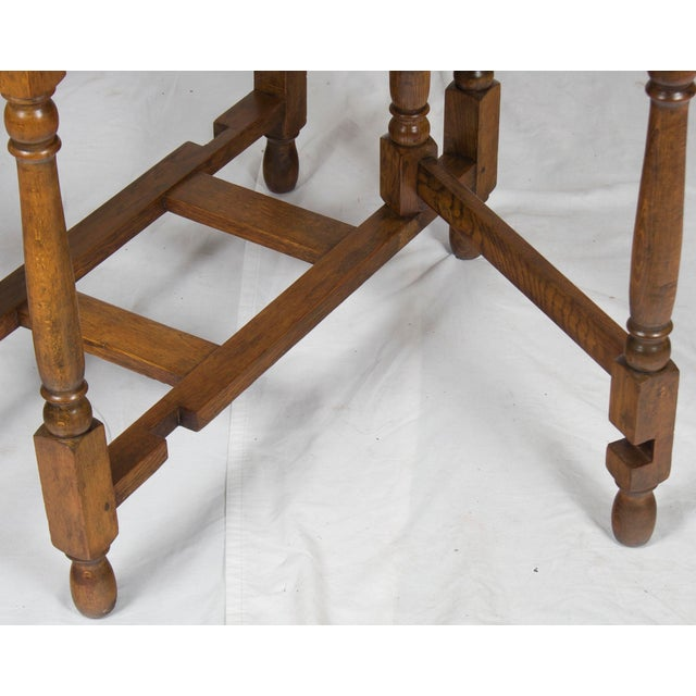 1920s Jacobean Turned Gate Leg Drop Leaf Side Table For Sale - Image 4 of 10
