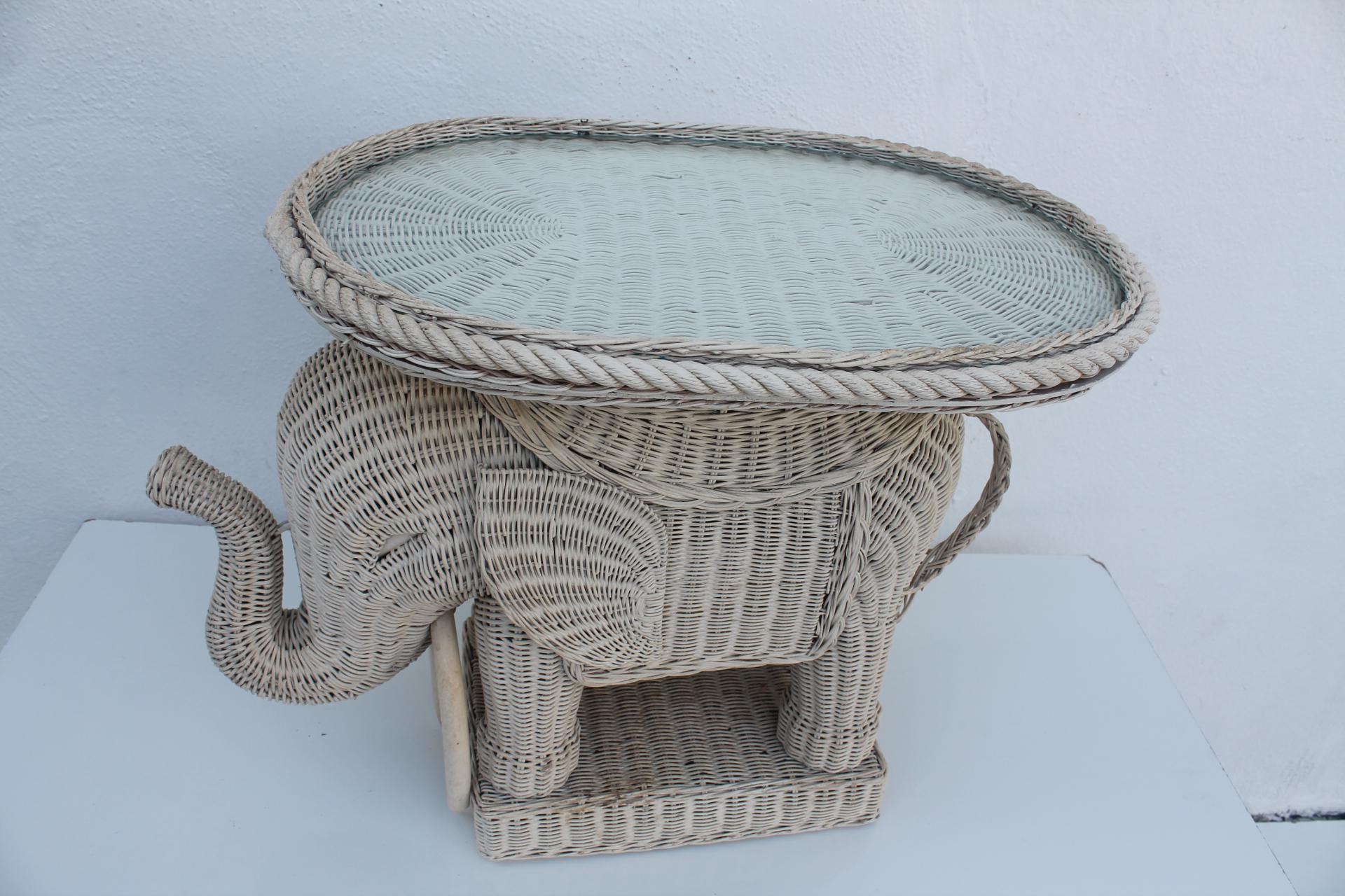 Vintage Italian Woven Rattan Elephant Side Table   Image 7 Of 7